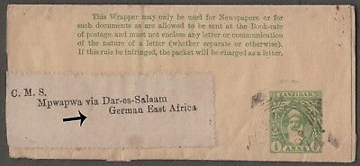 Zanzibar H& G -E Used ½A Wrapper To German East Africa. Uncommon Destination