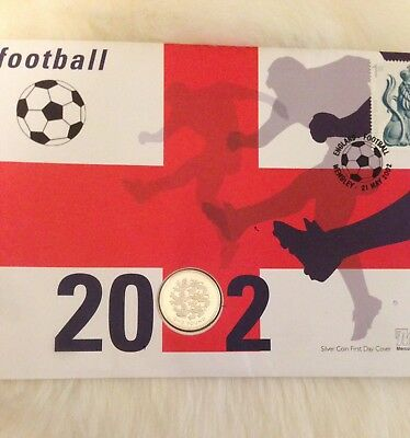 2002 Silver Proof England £1 Coin And Stamp Football World Cup first day cover.