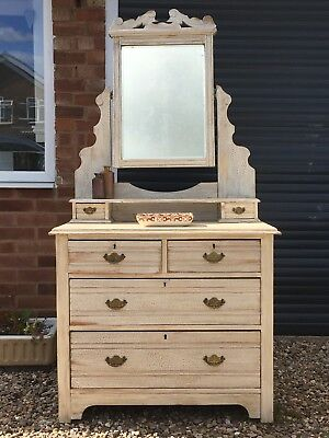 Unusual Antique Painted Dressing Table, Chest Of Drawers, Mirror Cabinet