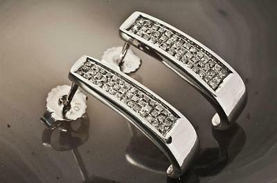 A PAIR OF SOLID 9ct WHITE GOLD 1.00ct GENUINE DIAMOND FANCY EARRINGS, HALLMARKED