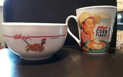 Ceramic Kellogg's corn Flakes Mug and bowl set Vintage collection 2006