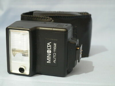 Minolta Auto 118X Shoe Mount Flash w/ Case Tested & Works Free Shipping