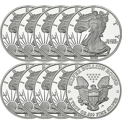 SilverTowne Minted 2020 Silver American Eagle 5oz .999 Silver Round 10 Piece Lot