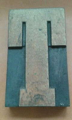 "Large 5"" high wide faced  Letterpress wooden printing block of the letter T"