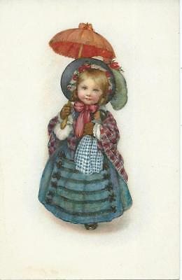 Susan B Pearse (unsign)  Girl carries her doll under parasol