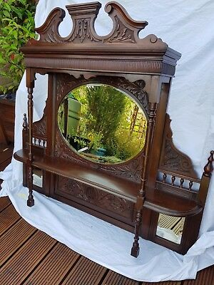 Edwardian Antique Overmantle Mirror in American Walnut