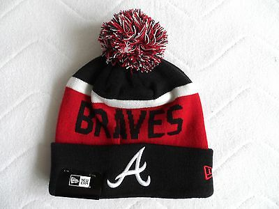 New Era ATLANTA BRAVES MLB Bobble Beanie Hat Toque Pompom Baseball USA