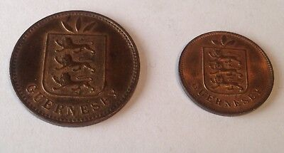 Pair Of 1903 Guernsey 1 & 4 Doubles Coins.