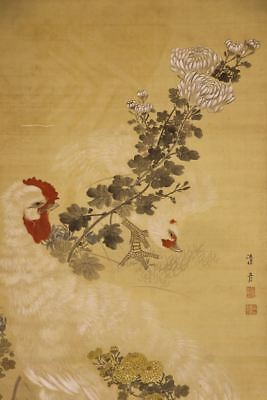 """JAPANESE HANGING SCROLL ART Painting """"Chicken and Flowers"""" Asian antique  #E8084"""