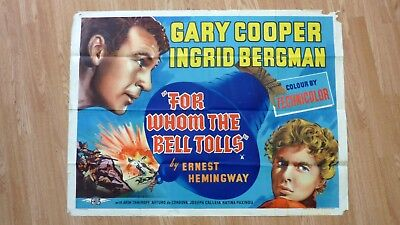 FOR WHOM THE BELL TOLLS (1943) Original Vintage UK Quad 30x40 Movie Poster