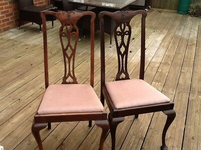 Pair antique upright chairs