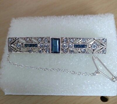 Lovely Art Deco Bar Brooch Stamped (Sterling ) With 3 Pretty Blue Stones.