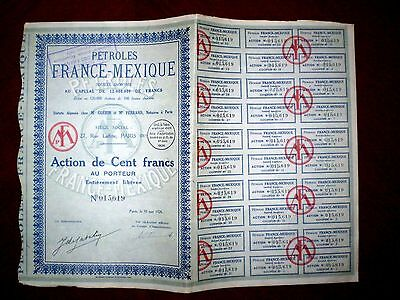 Petroles France-Mexique  share certificate 1926   Mexico   VG/F