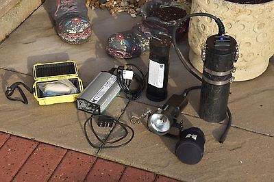 Halcyon 21W HID Divers Torch, e/o Cord, Charger, Spare Bulb in Hard Case