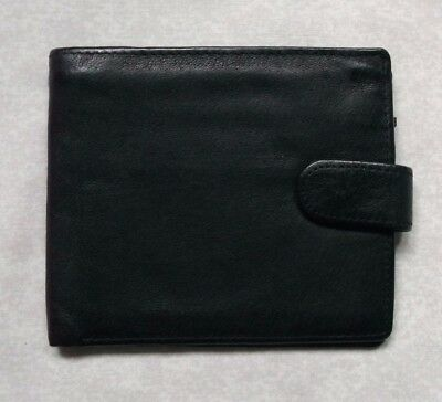 REAL LEATHER BLACK VINTAGE WALLET BI-FOLD CARDS NOTES 1980s 1990s DENNING & KANE