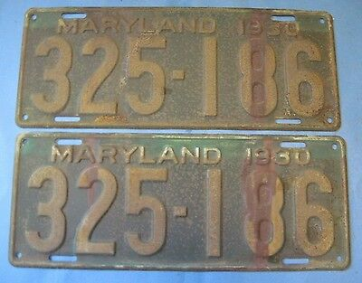 1930 Maryland License Plates matched pair