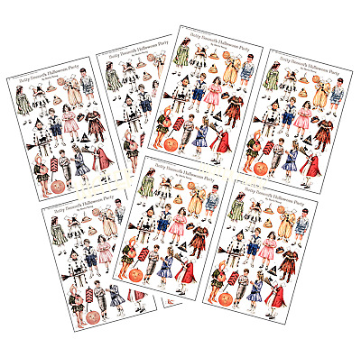 Halloween paper dolls scrapbooks cardmaking papercraft 6 x A4 printed sheets