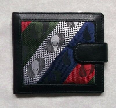 REAL LEATHER BLACK VINTAGE WALLET BI-FOLD CARDS NOTES 1980s 1990s PATTERNED