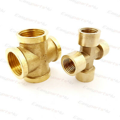 Brass BSP X Shape Equal | Female Thread | 4-way Connector Pipe Fittings Tubing
