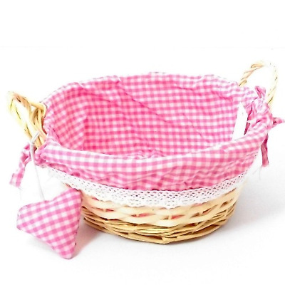 23cm Round Gingham Cloth Lined Eared Wicker Basket With Heart-Pink Girl FREE P+P