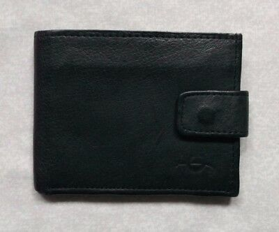 REAL LEATHER BLACK VINTAGE WALLET BI-FOLD CARDS NOTES 1980s 1990s FABRETTI