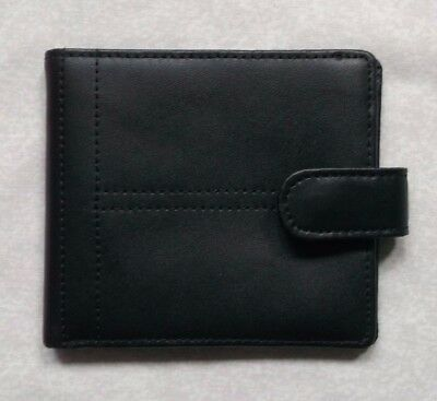GENUINE LEATHER BLACK VINTAGE WALLET BI-FOLD CARDS NOTES 1990s