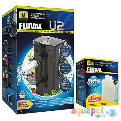 Fluval U2 Underwater Filter 110L NEW! with FREE Clean & Clear Cartridge