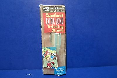 Vintage Sweetheart Extra Long Drinking Straws Box with Straws Soda Advertising