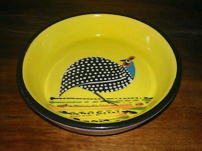 guinea fowl hand painted dish / bowl