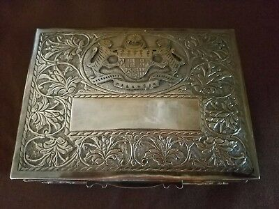 Vintage Malaysian Silver Presentation Cigarette or Cigar Box c. 1960's