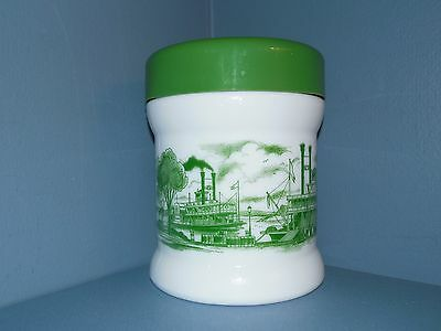 Vintage Milk Glass Green Steamboat Canister