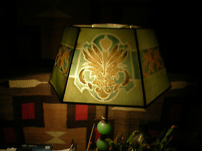 Vintage 1920's Arts and Crafts* Metal/Glass Flocked Lampshade..Green w/Design