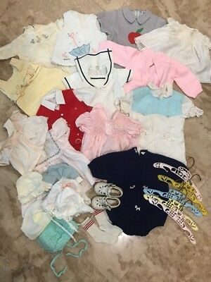 Vintage 25 Piece Mixed Lot of Baby Clothes and Accessories, Great for Baby Dolls