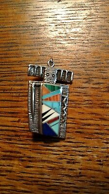 Rock Kritters Sterling Silver Inlay Pin Pendant Multi Stones Native Looking