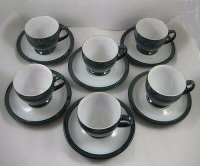 6 Denby Greenwich Espresso Coffee Cups & Saucers RARE