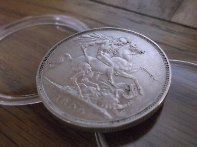 1890 solid silver Queen Victoria Jubilee Head Crown coin, EF Ex. Fine.