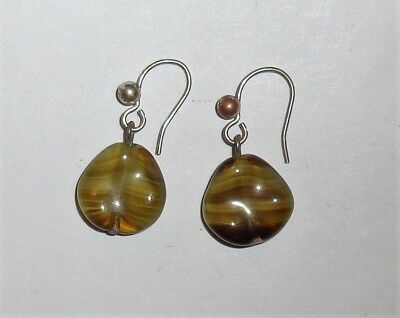 Vintage Art Deco Marbled Green Agate Moulded Glass Dangle Earrings