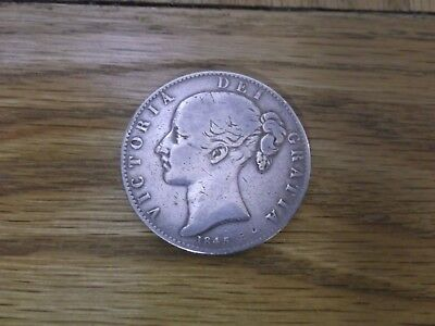 1845 solid silver Queen Victoria Young Head Crown coin, VF V.Fine.