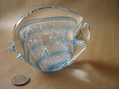 A VTG heavy hand blown signed Sweden Marcolin Studio Art Glass Blue Angel Fish