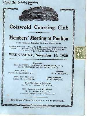 Race card for Cotswold Coursing Club Members' Meeting at Poulton 19.11.1930