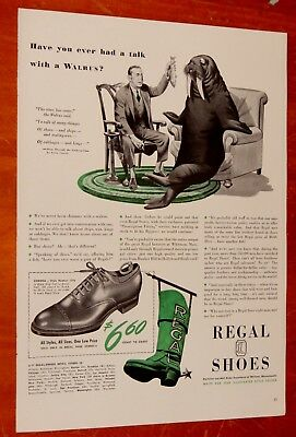 1942 Regal Shoes Talk With A Walrus Vintage Ad / Giant Boot Sign American 40S