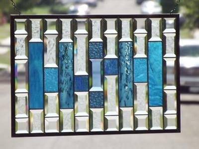 "• The Fine Line •Beveled Stained Glass Window Panel • 22 ¾"" x 14 ¾"" (58x38 cm)"