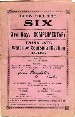 Race card for Waterloo Coursing Meeting 3rd day 1926.