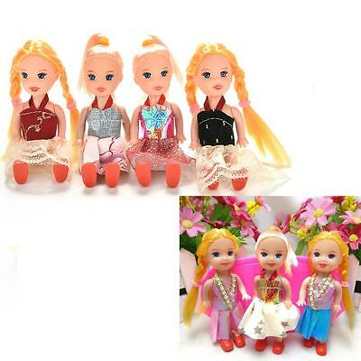 Interesting 5 Joints Dolls with Clothes Dress Shoes Wig for Kelly Barbie Doll PF