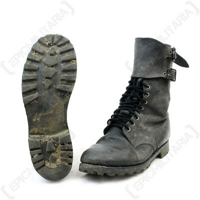 Original French Army Rangers COMBAT BOOTS - Surplus Black Leather - All Sizes