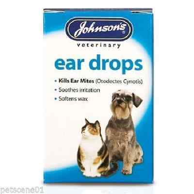 Johnsons Ear Drops for Cat & Dog kills ear mites soothes irritation softens wax