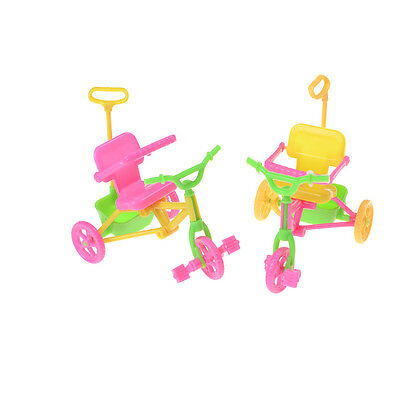 Cute Plastic Bike Tricycle with Push Handle for Dolls Kids Gift Best PF