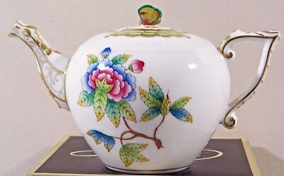 Herend Queen Victoria Miniature Teapot,butterfly Lid End ,brand New Boxed