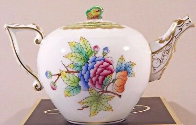Herend Queen Victoria Miniature Teapot,papillon Lid End,brand New Boxed ....