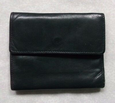 SOFT LEATHER BLACK VINTAGE WALLET TRI-FOLD CARDS NOTES 1980s 1990s